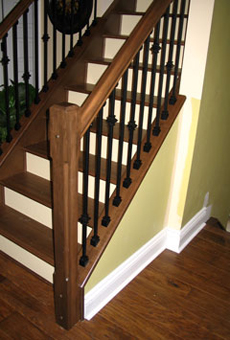 Maple Newel Posts And Handrail Black Metal Spindles Sudbury Ontario