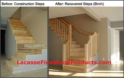 Recovering A Construction Set Of Stairs With Solid Wood Treads